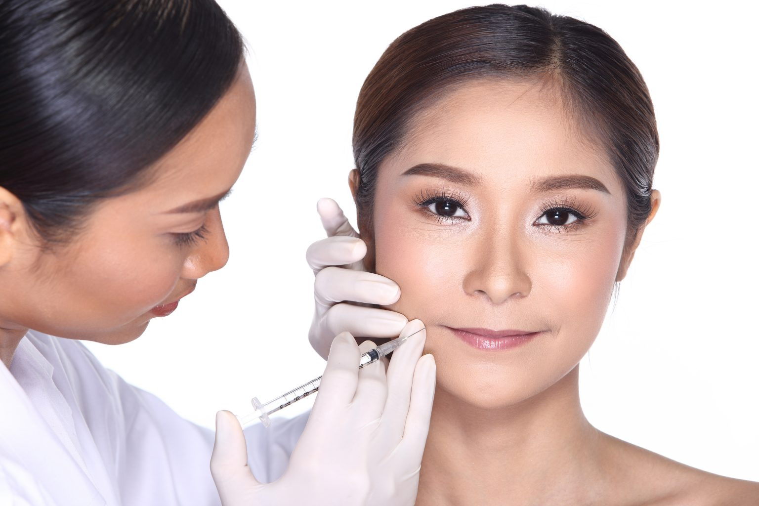 Beautiful Woman With Medical Healthy Beauty Injection Treatment Check Nose Skin Shape Face Before Plastic Surgery